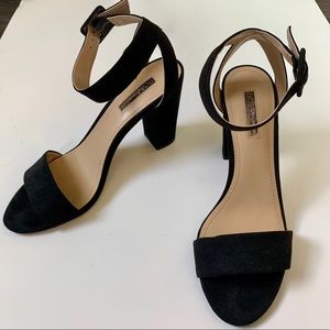 BCBGeneration Black Block Heels with Ankle Strap 8